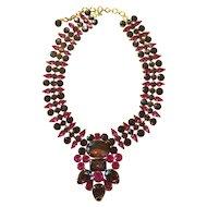 Large Purple/Fuschia/Deep Red Fruit Salad Style Necklace