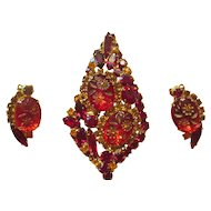 Juliana Red Engraved Flower Brooch/Earrings