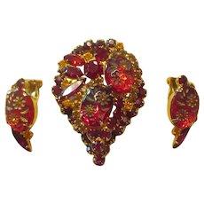 Juliana Red Engraved Flower Brooch/Earrings (Teardrop Shaped)