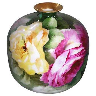Ginori Italy Hand Painted Porcelain Squat Vase; Large Roses; Artist Signed G. Frilli