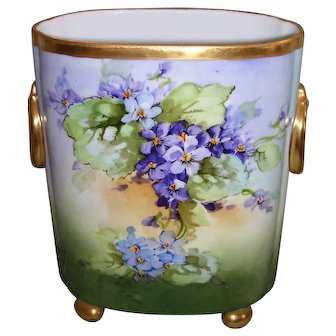 William Guerin Limoges Cache Pot; Hand Painted Violets and Roses; Artist Signed Kimmel