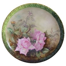 Gorgeous Limoges Charger; Pink Roses on Stem and Leaf; Tressemann & Vogt