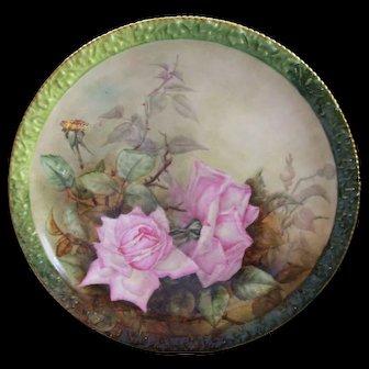 Gorgeous Limoges Charger; Pink Roses on Stem and Leaf; Tressemann & Vogt