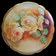 Coronet Limoges Scalloped Plate; Gorgeous Yellow Roses; Artist Signed Bronssillon
