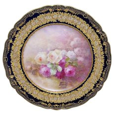 Superb; Stunning; Haviland Limoges Cabinet Plate; Cobalt Border with Embossed Blossoms and Gilded Foliage; Hand Painted Roses are Reminiscent of the work of Master Artists Golse or Bronssillon