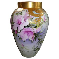 Fabulous; Stunning; Delinieres & Co Limoges Vase; Pink Azaleas on Stem and Leaf; Dripping with Fancy Gold