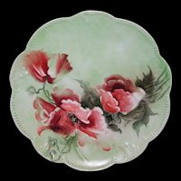 Gorgeous Large Limoges Charger Decorated with Orange Poppies