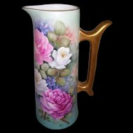 Stunning T & V Limoges Large Tankard; Gilded Handle and Rim; Handpainted Roses and Violets on Stem and Leaf; Gorgeous Blue Ground; As Found
