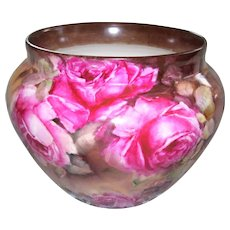 Gorgeous, Unusual Limoges Jardiniere Decorated with Large Roses in Shades of Pink on a Ground of Chocolaty Browns