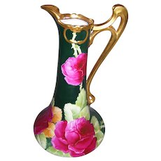 """Stunning Limoges Ewer; Triple Marked Elite Limoges France; Gorgeous Hand Painted Red Roses on Stem and Leaf on a Hunter Green Ground; Artist Signed """"L. Auguste"""""""