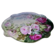 Gorgeous Large Pouyat Limoges Dresser Tray Decorated with Spectacularly Realistic Hand Painted Roses in Shades of Pink and Red