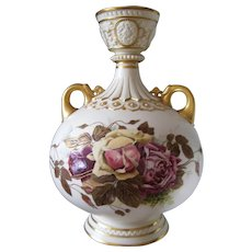 Rare and Unusual Royal Worcester Vase Decorated with Roses; Very Old; Drilled for use as a Lamp