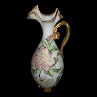 Rare and Unusual Limoges Pitcher/Ewer/Vase with Gilded Daffodil Handle and Hand Painted Roses on Stem and Leaf, Outlined in Rich Roman Gold