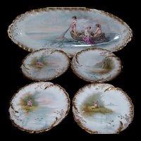 "Spectacular Martial Redon Limoges Factory (1882-1896) Cherub Fish Set; Signed ""F. Furlaud"""