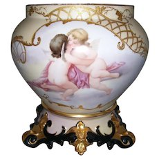 Gorgeous Large Limoges Cherub Jardiniere Set; Raised Gold Paste; Stunning, Ornate Rococo Limoges Plinth