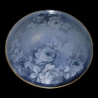 "Beautiful, Unusual, Large T&V Limoges 16 Inch Tray Decorated With Hand Painted, Monochromatic Blue Roses, Artist Signed ""Hayden"""