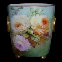Gorgeous Limoges Cache Pot With Ethereal Water Color Roses