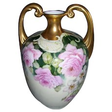 "Museum Quality Large Limoges Muscle Vase; Cascades of Pink Roses and Wild Roses; Victorian Era Filigree; Gilded Handles and Neck; Artist Signed ""INDERHEES"""