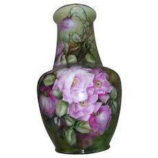 Huge, Gorgeous Limoges Floor Vase Covered in Large Pink Roses on Stem and Leaf
