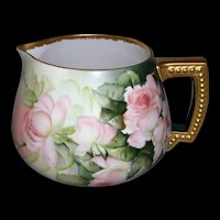 "Large Limoges Cider Pitcher; Hand Painted Peach and Red Roses; Gold Handle and Rim; Artist Signed ""E Miler"""