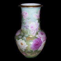 Huge, Gorgeous Limoges Floor Vase Covered in Large Hand Painted Pink Roses on Stem and Leaf