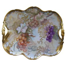 Stunning French Porcelain Handled Tray; Multi Colored Grapes; Raised Gold Paste Filigree