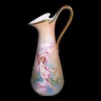 "Dainty and Elegant Limoges Figural Ewer with Gilded Ribbon Handle; Artist Signed ""Dubois"""