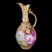Lanternier Limoges Factory Ewer; Covered in Hand Painted Roses on Stem and Leaf; Signed by the Renowned Limoges Artist, A. Bronssillon