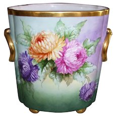 "Huge, Rare 12 1/2 Inch Tall Heinrich & Co Selb Bavaria Cache Pot; Hand Painted Chrysanthemums; Artist Signed ""Kimmel"""