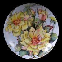 Large, Gorgeous Elite Limoges Powder/Dresser Jar Decorated with Striking Yellow Roses