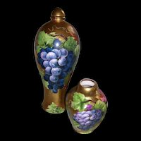 """Rare and Unusual Habsburg Austria Decanter with Cover and Unusual Vienna Austria Small Four Sided Vase; All Over Gold Background; Decorated with Beautifully Hand Painted Grapes; Decanter Artist Signed """"H Rene"""""""