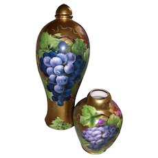 "Rare and Unusual Habsburg Austria Decanter with Cover and Unusual Vienna Austria Small Four Sided Vase; All Over Gold Background; Decorated with Beautifully Hand Painted Grapes; Decanter Artist Signed ""H Rene"""