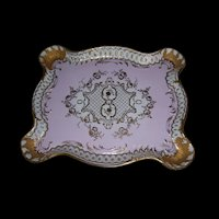Large, Ornate, Artist Signed Pink, White and Gold Sevres Tray