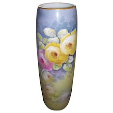 """Superb 16 Inch Tall Limoges Cylinder Vase With Roses; Artist Signed """"A MARTY"""""""