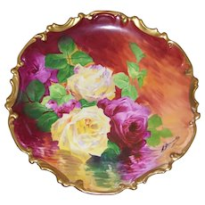 "Artist Signed ""A Bronssillon""; Rococo Limoges Charger; Red and Yellow Reflecting Roses"