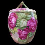 Gorgeous T&V Limoges Biscuit Jar; Fabulous Red Roses; Artist Signed E. Rudolph