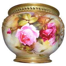 """Gorgeous, Large Royal Worcester Jardiniere; Elaborate Reticulated Rim; Decorated with Ruby and Pink Roses on Stem and Leaf; Artist Signed """"F. J. BRAY"""""""