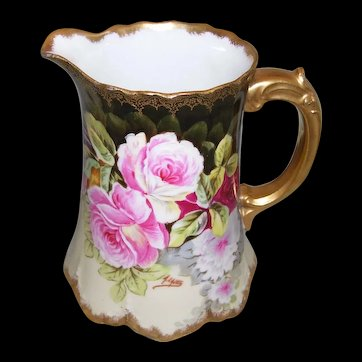 Artist Signed A. LAJUS; Elite Limoges France; Hand Painted Roses; Small Pitcher
