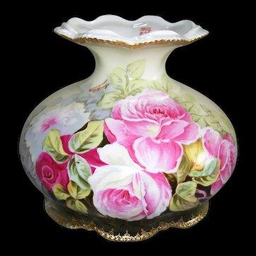 Artist Signed A. LAJUS; Elite Limoges France; Hand Painted Roses; Small Fruit Bowl/Pedestal Compote
