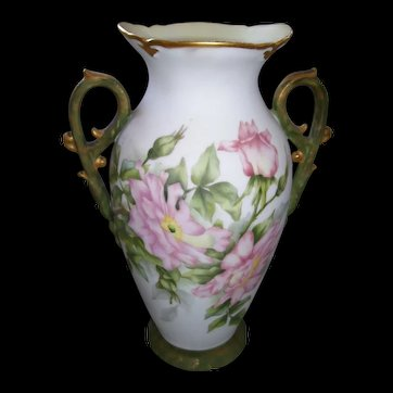 Stunning Fancy Handled Porcelain Vase; Hand Painted Pink Roses on Stem and Leaf; Sponged Gold on Matte Green Handles and Base