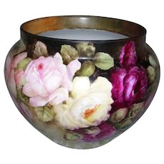 """Large Limoges Jardiniere Decorate with Multi-Colored, Hand Painted Roses on a Victorian Style ground; Artist Signed """"A Raquet"""""""