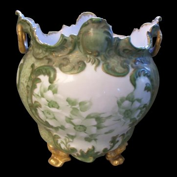 Rare & Unusual Limoges Handled and Footed Jardiniere/ Cache Pot; Wild White Roses; Rich Roman Gold
