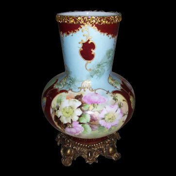 Huge Limoges Bulbous Vase on Stand; Gorgeous Wild Roses; Drilled for use as a Lamp