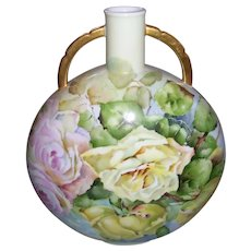 Rare and Unusual; Large Limoges Canteen Vase; Hand Painted Pastel Roses; Water Color Style; Artist Signed M K Clark
