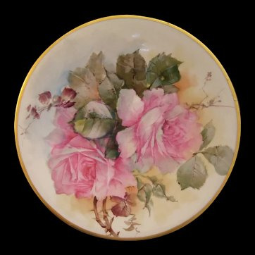 Jean Pouyat Limoges Plate; Boldly Hand Painted Pink Roses on Stem and Leaf; Signed by M BLANCHE LENZI of Norristown PA; Respected, Talented, Favorite of All Victorian Roses Artists