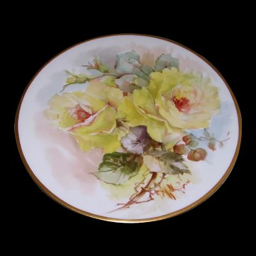 """Jean Pouyat Limoges Plate; Boldly Hand Painted Yellow Roses on Stem and Leaf; Signed MBL for """"M BLANCHE LENZI"""" of Norristown PA; Respected, Talented, Favorite of All Victorian Roses Artists"""