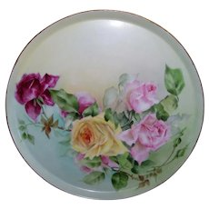 13 ½ Inch T&V Round Limoges Tray; Realistically Hand Painted, Multi Colored Roses on Stem and Leaf