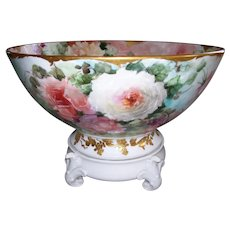 Stunning William Guerin Limoges Punch Bowl Covered Inside and Outside in Peach, Yellow and Red Hand Painted Roses; With Matching White Plinth