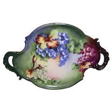 Beautiful Large Limoges T & V Handled Tray Decorated With Bold Victorian Colors and Hand Painted Grapes