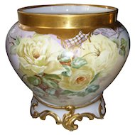 Gorgeous Delinieres and Company Limoges Jardiniere and Plinth; Huge Yellow Roses; Rich Roman Gold